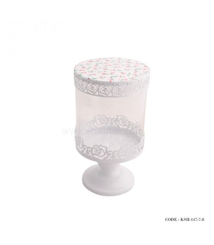 کندی باکس پایه دار سفید طرح گل
