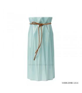 گلدان سرامیکی بلند نخ کنفی آبی