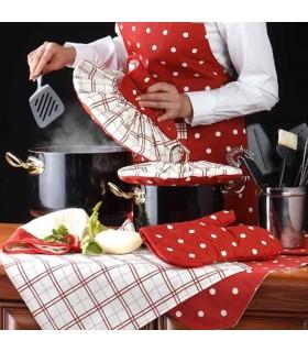 نیم ست آشپزخانه طرح خالدار قرمز