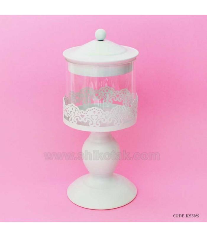 کندی باکس شیشه ای طرح رامونا سفید کوچک