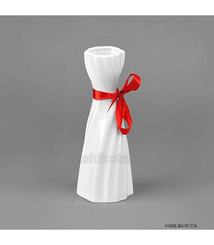 گلدان سرامیکی سفید روبان قرمز