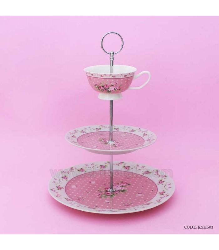 شیرینی خوری سه طبقه آنجل صورتی