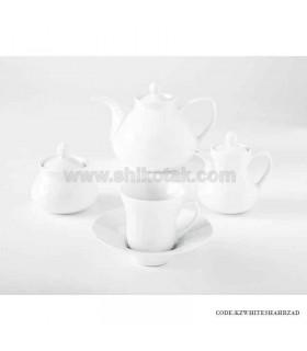 سرویس چای خوری شیک و جدید 6 نفره زرین طرح سفید
