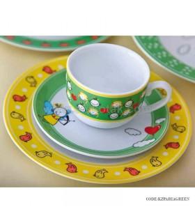 سرویس غذا خوری کودک زرین طرح پریا سبز و زرد