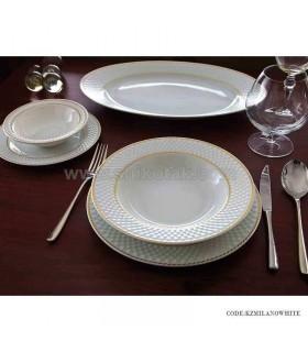 ظروف غذا خوری چینی 6 نفره زرین طرح میلانو سفید