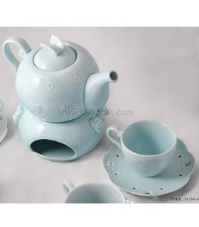 ست چای خوری 4 نفره طرح انگلیش هوم آبی