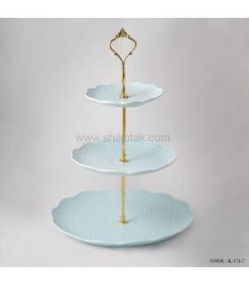 مدل شیرینی خوری سه طبقه طرح دار انگلیش هوم آبی