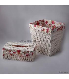 سرویس سطل و جادستمالی سفید طرح بافت تاروپود
