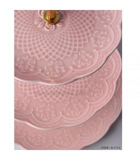 مدل شیرینی خوری سه طبقه طرح دار انگلیش هوم صورتی