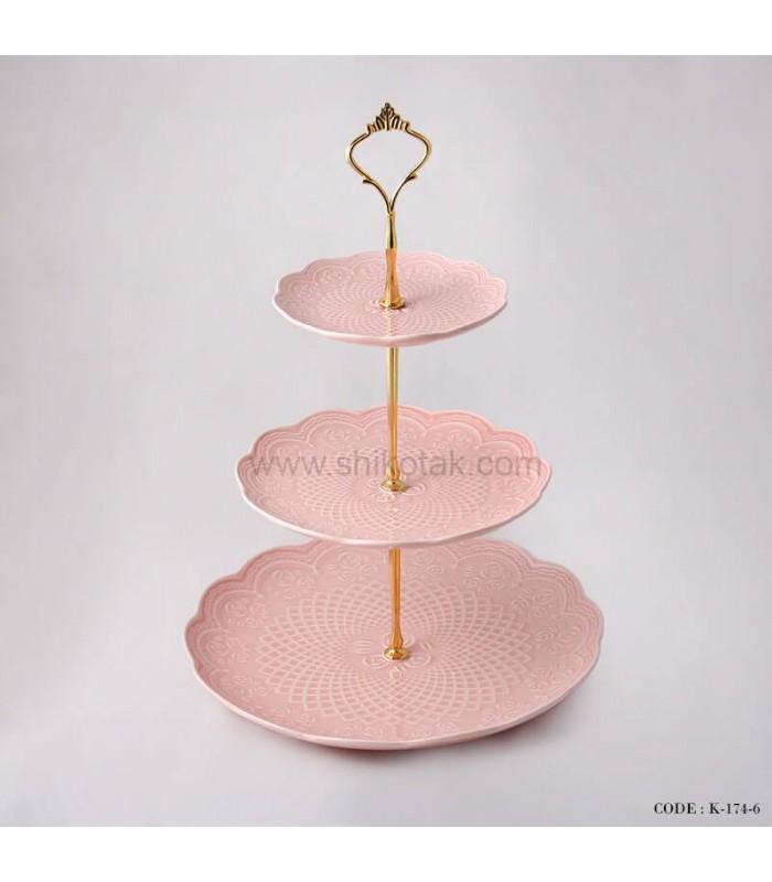 شیرینی خوری سه طبقه طرح دار انگلیش هوم صورتی