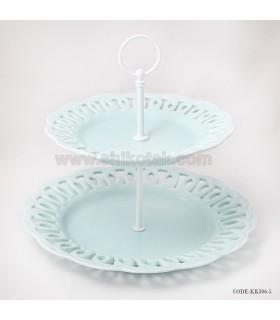شیرینی خوری دو طبقه طرح دار انگلیش هوم آبی