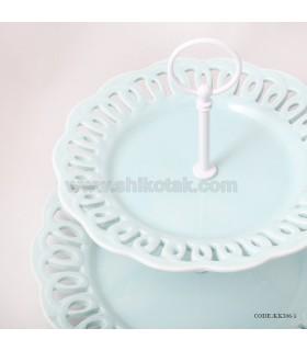 مدل شیرینی خوری دو طبقه طرح دار انگلیش هوم آبی