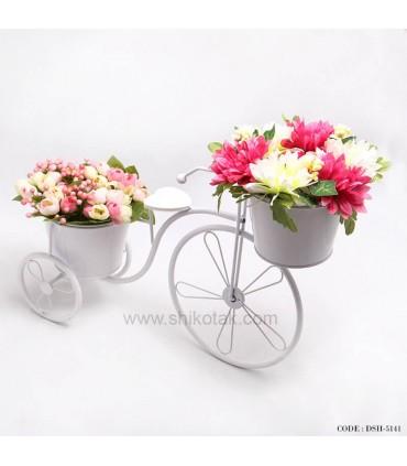 جا گلدانی طرح دوچرخه سفید