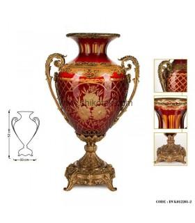 گلدان پایه برنز قرمز طلایی کوتاه سری 012