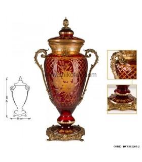 گلدان سلطنتی مدل کوزه ای بلند قرمز طلایی سری045