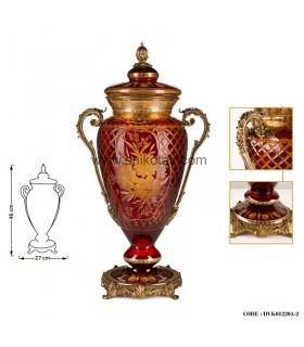 گلدان سلطنتی مدل کوزه ای کوتاه قرمز طلایی سری045
