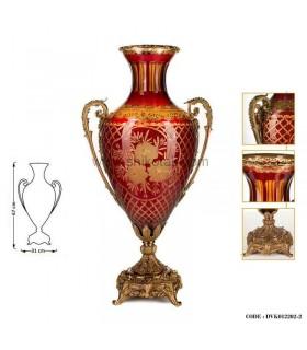 گلدان پایه برنز بلند قرمز طلایی سری 012