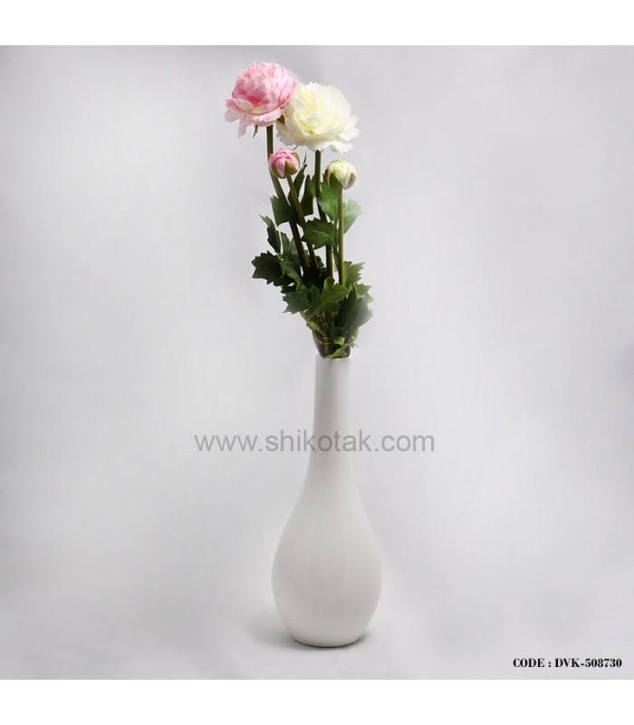 گلدان سرامیکی سفید مدل کوزه ای