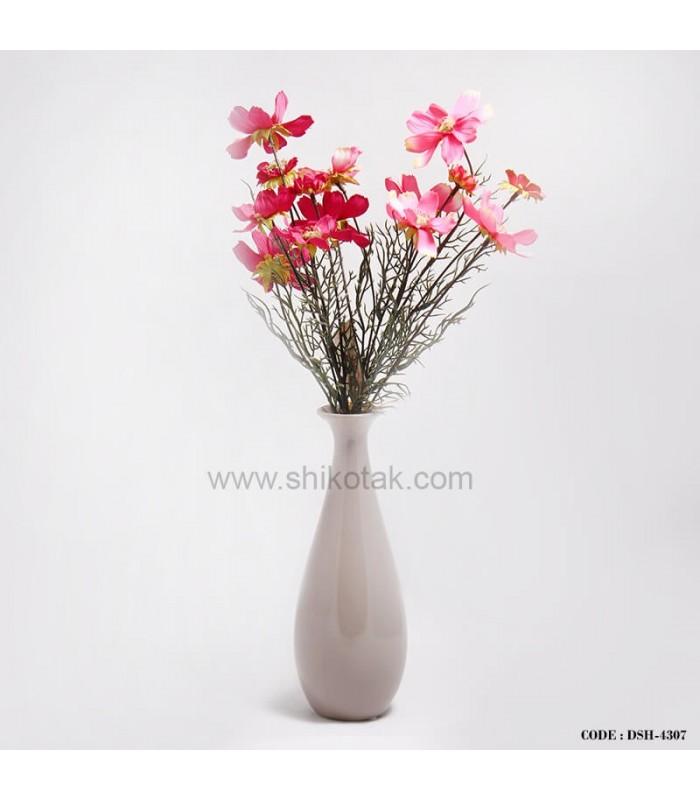 گلدان کشیده طوسی سرامیکی