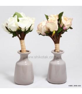 گلدان پهن طوسی سرامیکی