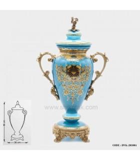 گلدان تزئینی مدل کوزه ای آبی سری004