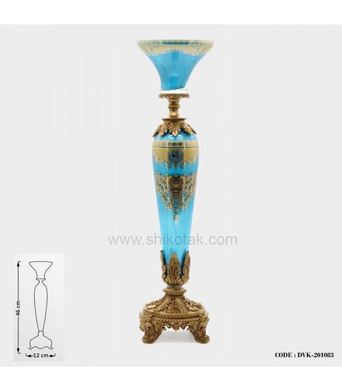 جا شمعی پایه برنز سلطنتی آبی سری 083