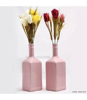 گلدان گل طرح بطری صورتی