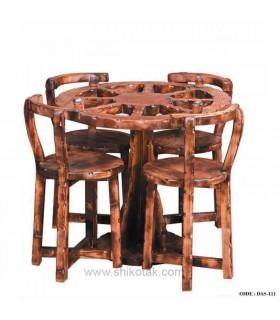 میز و صندلی ناهار خوری چوبی گرد سری111S
