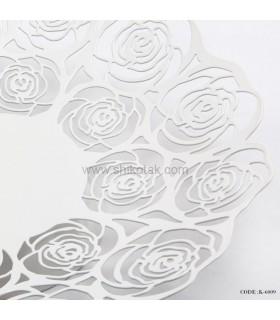 سینی سفید طرح گل رز