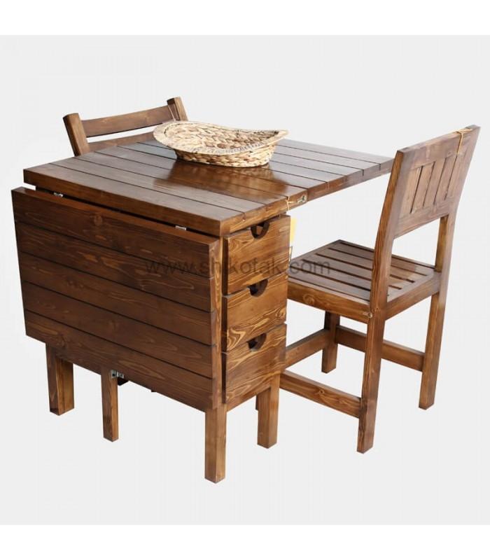 میز چوبی ناهار خوری تاشو کشو دار مستطیل