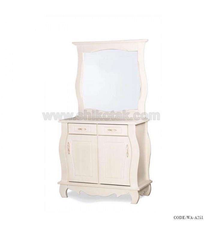 بوفه چوبی آینه دار سفید سری A251