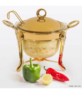سوپ خوری نگین دار طلایی سایز بزرگ