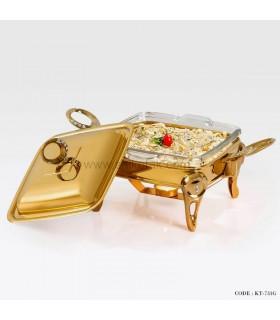 سوفله خوری طلایی نگین دار مربع کوچک