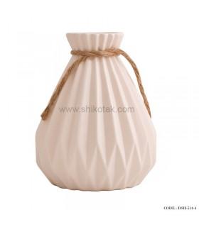 گلدان نخ دار سرامیکی سفید