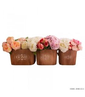 گلدان چوبی سه تایی طرح home