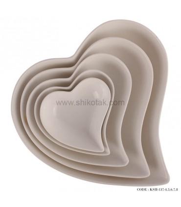 ست کاسه قلبی سرامیکی 5 تایی