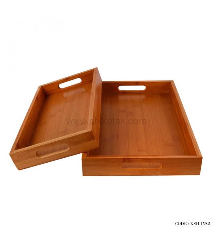 سینی پذیرایی چوبی دو تایی