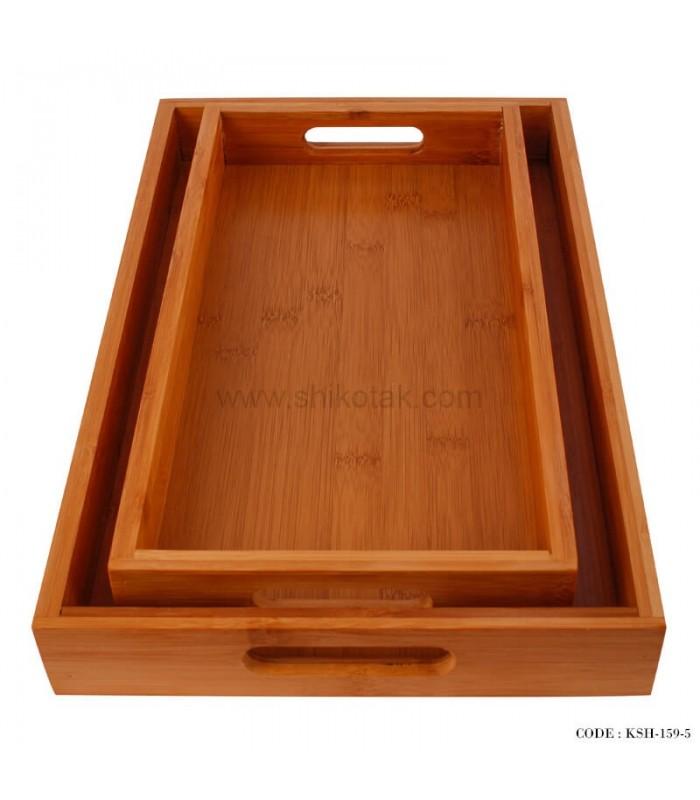مدل سینی پذیرایی چوبی دو تایی