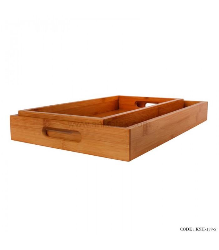 خرید سینی پذیرایی چوبی دو تایی