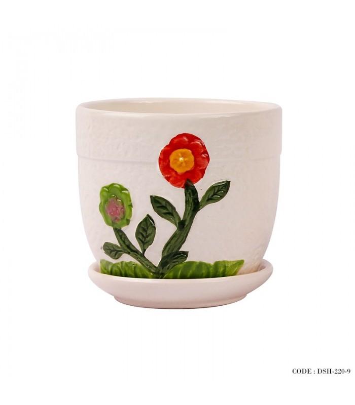 مدل گلدان و زیر گلدانی سرامیکی طرح گل قرمز