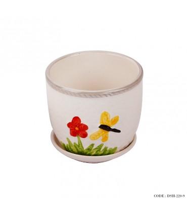 گلدان و زیر گلدانی سرامیکی طرح گل و پروانه