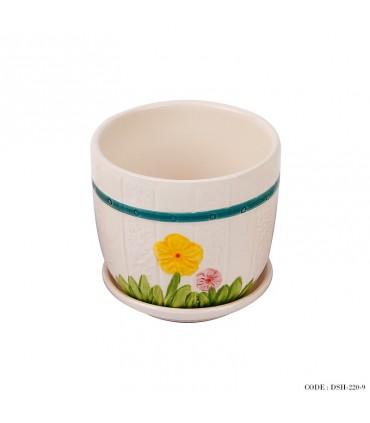 گلدان و زیر گلدانی سرامیکی طرح گل زرد