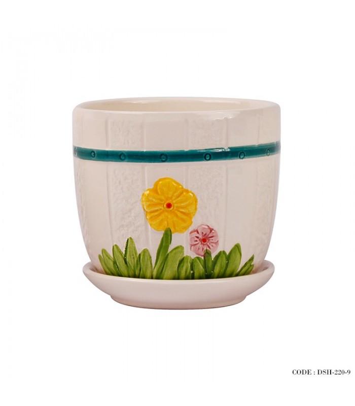 مدل گلدان و زیر گلدانی سرامیکی طرح گل زرد