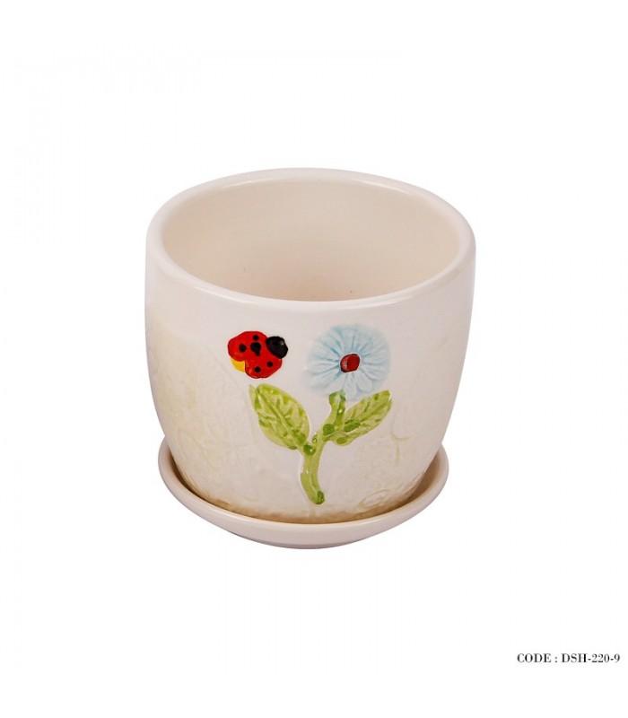 گلدان و زیر گلدانی سرامیکی طرح کفشدوزک