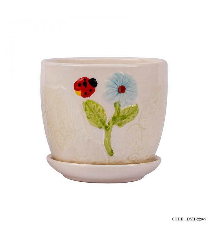 مدل گلدان و زیر گلدانی سرامیکی طرح کفشدوزک