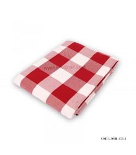 رومیزی ناهار خوری طرح چهارخونه قرمز و سفید
