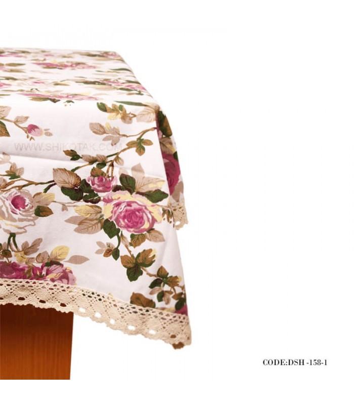 مدل رومیزی ناهارخوری لبه گیپور طرح رز با زمینه سفید
