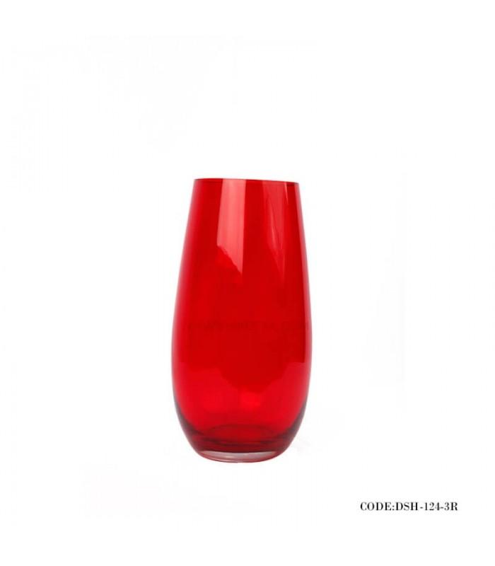 گلدان شیشه ای قرمز