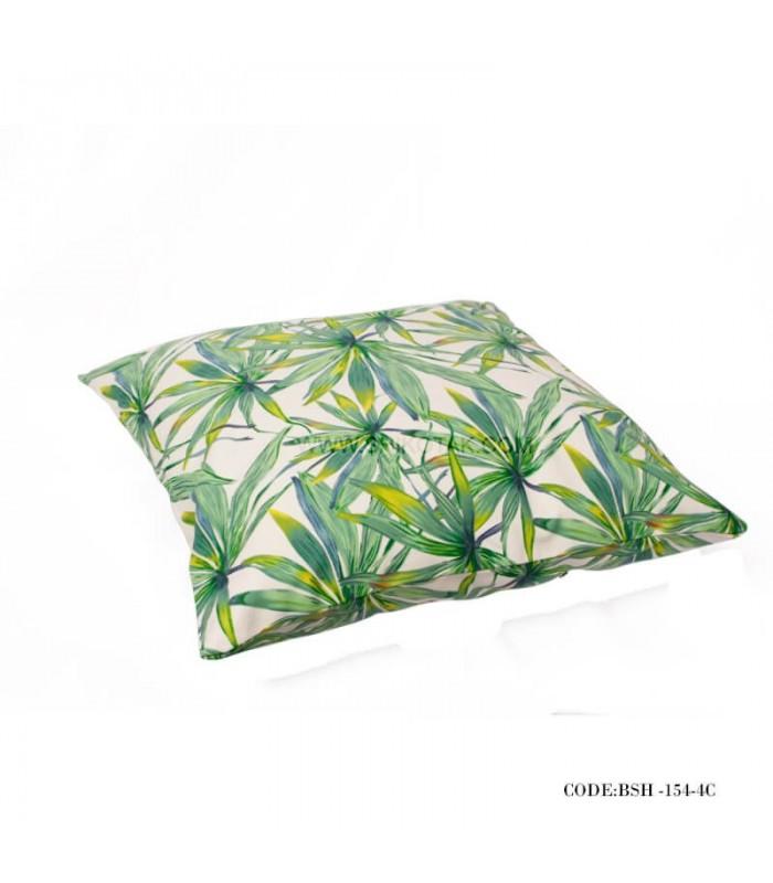 خرید کوسن سبز طرح برگ بامبو