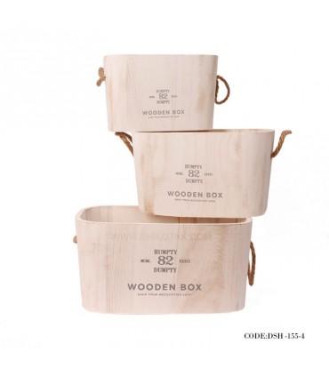 فلاور باکس سه سایز چوبی سفید